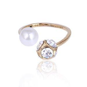Kate Spade earrings gold pearl ring adjustable